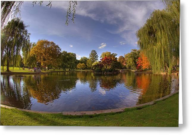 New England Fall Scenes Greeting Cards - The Lagoon - Boston Public Garden Greeting Card by Joann Vitali