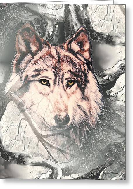 Wolf Pastels Greeting Cards - The Lair Greeting Card by Melodye Whitaker