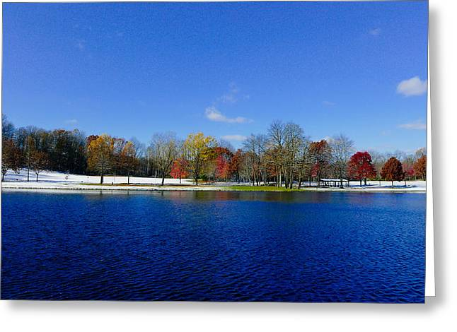 Brrrr Greeting Cards - The lake at Munroe Falls Park Greeting Card by Jeff Picoult
