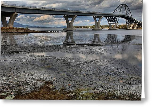 Lake Champlain Greeting Cards - The Lake Champlain Bridge From Cown Point Greeting Card by Adam Jewell