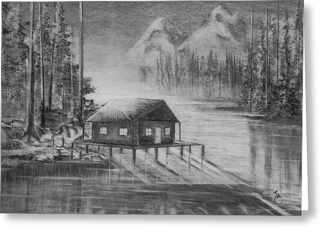 Lake House Drawings Greeting Cards - The  lake Greeting Card by Daniel Sanchez