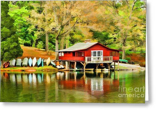 The Lake House Greeting Card by Darren Fisher
