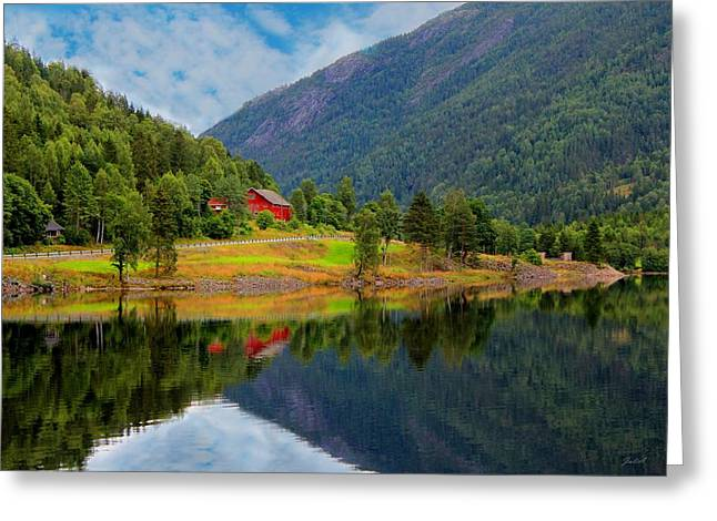 Photographs Greeting Cards - The Lake House Norway Greeting Card by Julia Fine Art And Photography