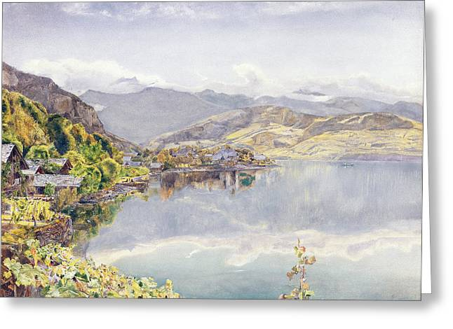 Chalet Greeting Cards - The Lake Of Lucerne, Mount Pilatus Greeting Card by John William Inchbold