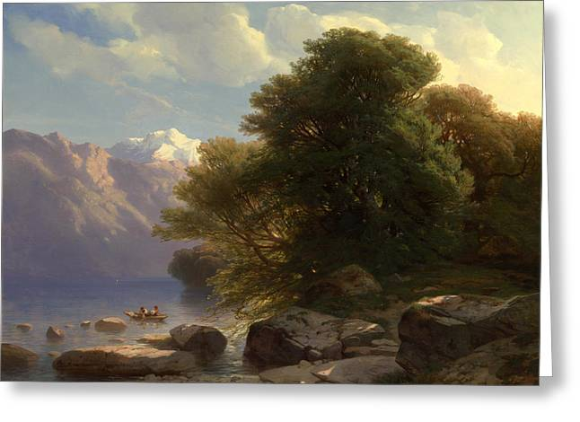 Swiss Paintings Greeting Cards - The Lake of Thun Greeting Card by Alexandre Calame