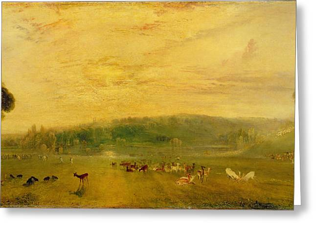 Stag Greeting Cards - The Lake, Petworth Sunset, Fighting Bucks, C.1829 Greeting Card by Joseph Mallord William Turner