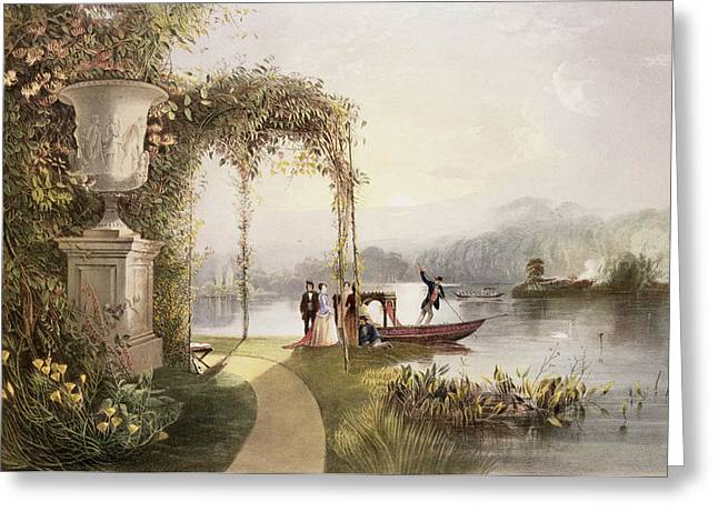 Border Greeting Cards - The Lake  Trentham Hall Gardens Greeting Card by E Adveno Brooke