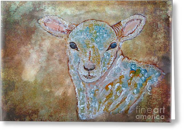 Religious Mixed Media Greeting Cards - the Lamb Greeting Card by Ella Kaye Dickey