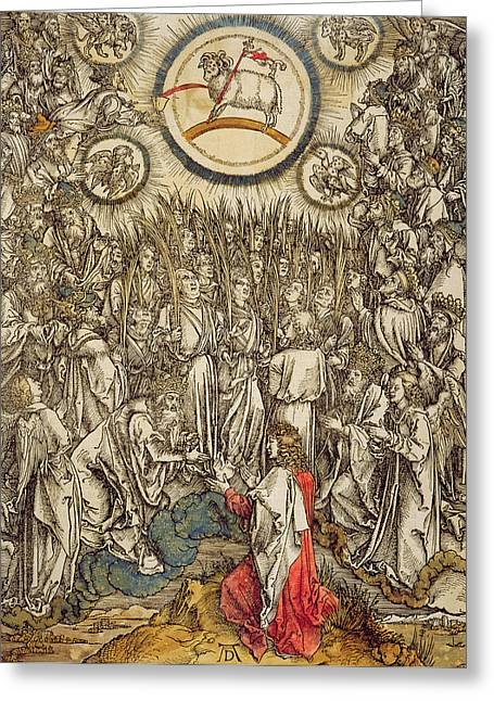 Martyr Greeting Cards - The Lamb Of God Appears On Mount Sion, 1498 Colour Woodcut Greeting Card by Albrecht Dürer or Duerer