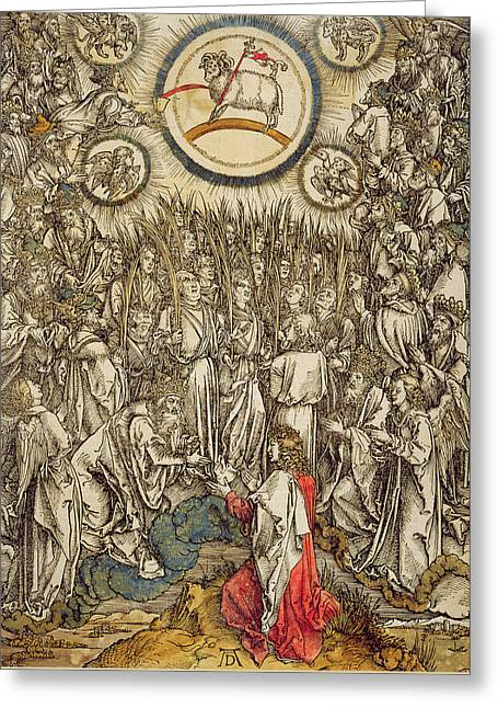 The Lamb Of God Appears On Mount Sion, 1498  Greeting Card by Albrecht Durer or Duerer