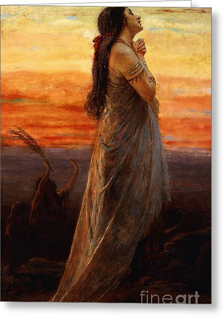 Religious ist Paintings Greeting Cards - The Lament of Jephthahs Daughter Greeting Card by George Elgar Hicks