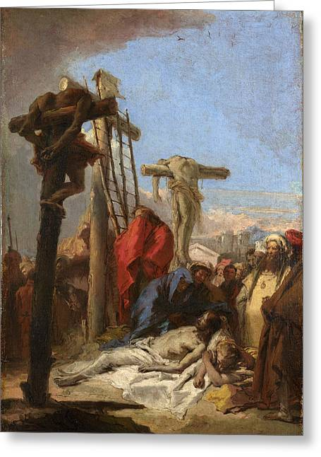 Lamentation Greeting Cards - The Lamentation at the Foot of the Cross Greeting Card by Giovanni Domenico Tiepolo