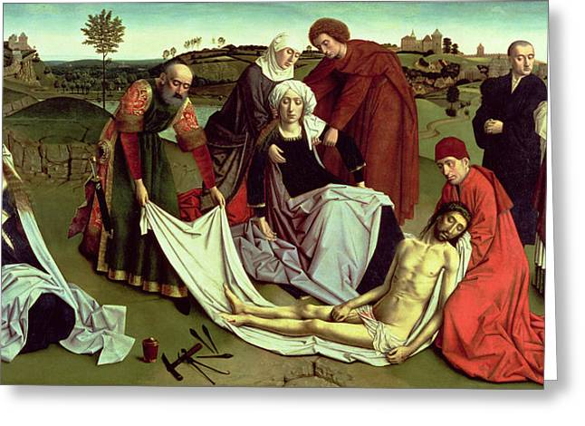 Hammer Greeting Cards - The Lamentation Over The Dead Christ Oil On Panel Greeting Card by Petrus Christus