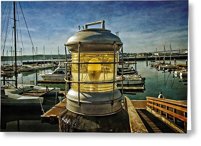 Oregon Coast Greeting Cards - The Lamp At Yaquina Bay Greeting Card by Thom Zehrfeld