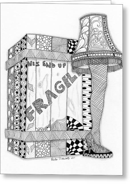 Leg Lamp Greeting Cards - The Lamp Greeting Card by Paula Dickerhoff