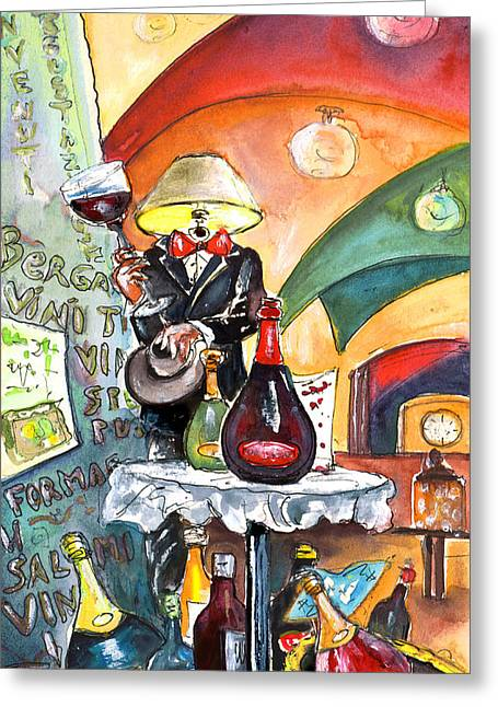 Italian Shopping Drawings Greeting Cards - The Lampman From Bergamo Greeting Card by Miki De Goodaboom