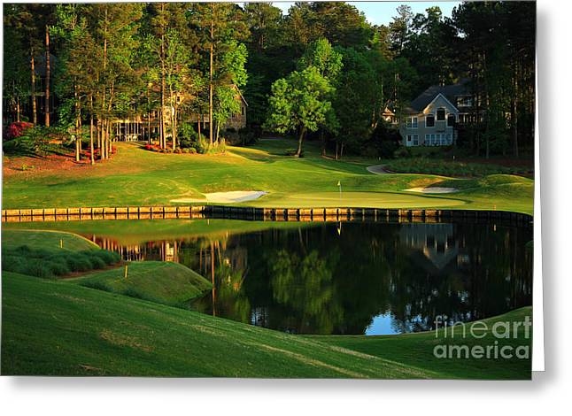Golf Hole Greeting Cards - Golf at The Landing #3 in Reynolds Plantation On Lake Oconee GA Greeting Card by Reid Callaway