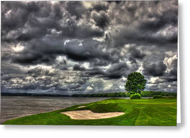 Golf Hole Greeting Cards - The Landing hole 4 Greeting Card by Reid Callaway