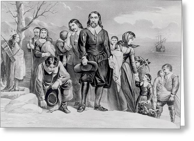 Puritan Greeting Cards - The Landing Of The Pilgrims At Plymouth, Mass. Dec. 22nd, 1620, Pub. 1876 Engraving Bw Photo Greeting Card by N. Currier