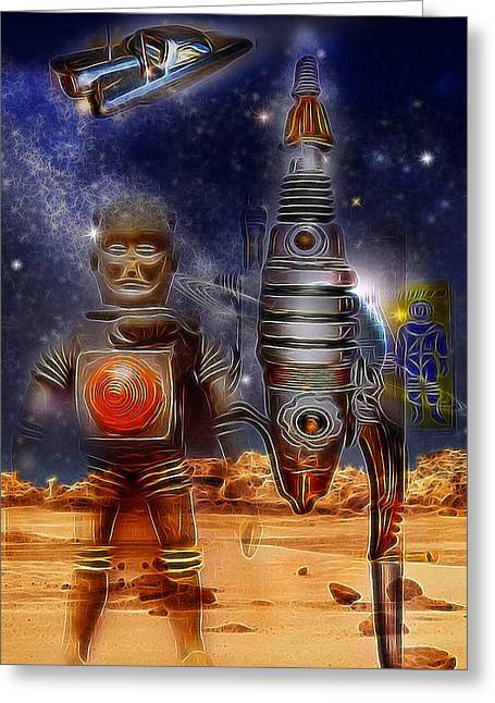 Astronauts Mixed Media Greeting Cards - The Landing Party Greeting Card by Russell Pierce