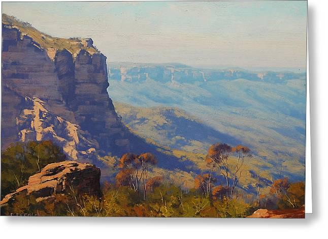 Leap Greeting Cards - The Landslide Katoomba Greeting Card by Graham Gercken