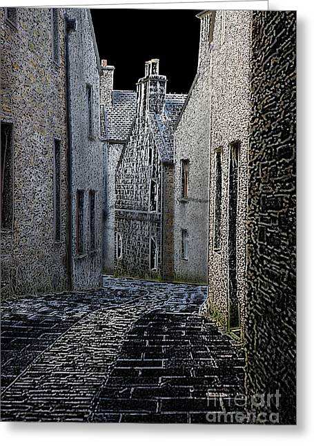 Townscape Digital Art Greeting Cards - The Lane Greeting Card by Lynne Sutherland