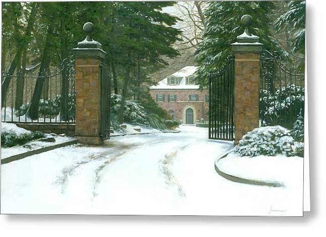 Height Paintings Greeting Cards - The Lane Way Home Greeting Card by Michael Swanson