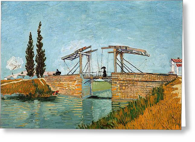 Langlois Greeting Cards - The Langlois Bridge at Arles Greeting Card by Celestial Images