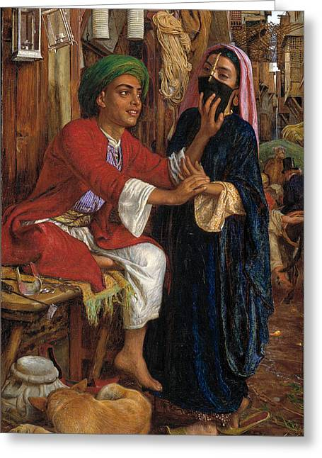 William Street Greeting Cards - The Lantern Makers Courtship. A Street Scene in Cairo Greeting Card by William Holman Hunt