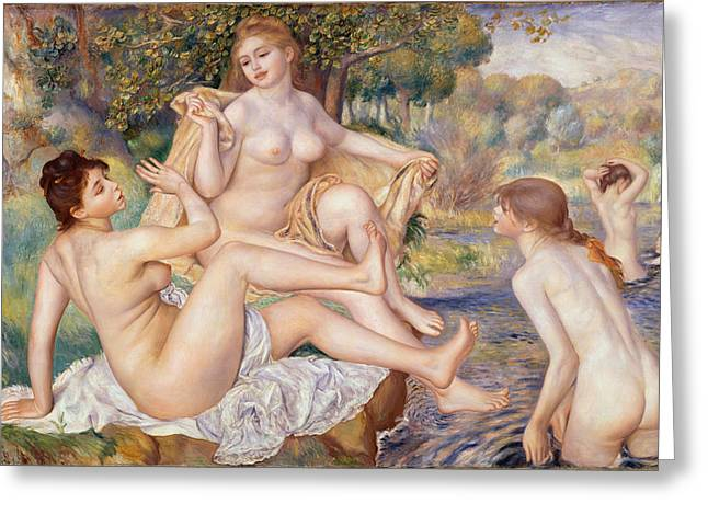 Playing Digital Greeting Cards - The Large Bathers Greeting Card by Nomad Art And  Design