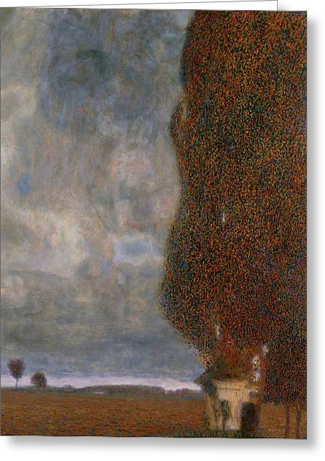 Grey Clouds Greeting Cards - The Large Poplar II Gathering Storm Greeting Card by Gustav Klimt