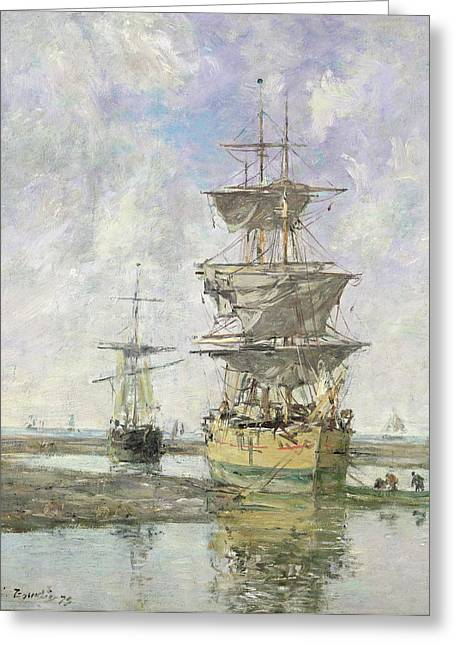 Blue Sailboat Greeting Cards - The Large Ship Greeting Card by Eugene Louis Boudin