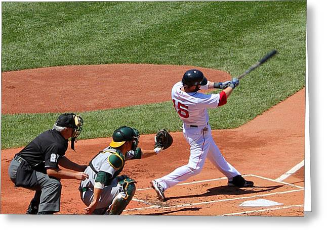 The Laser Show Dustin Pedroia Greeting Card by Tom Prendergast