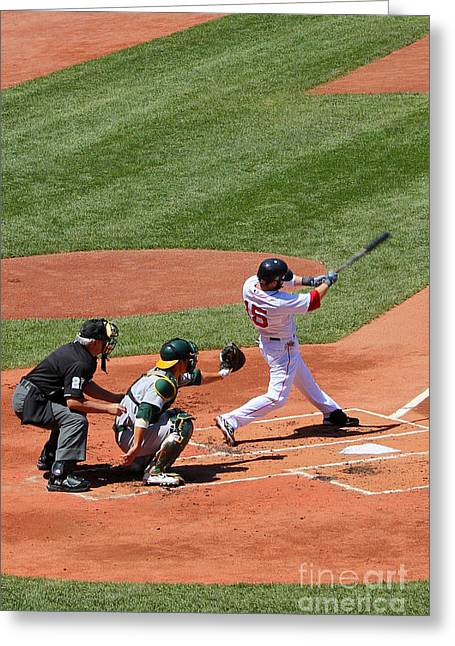 Action Photo Greeting Cards - The Laser Show Dustin Pedroia Greeting Card by Tom Prendergast