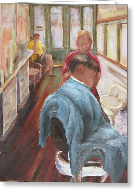 The Last Barber Shop  Greeting Card by Susan Richardson