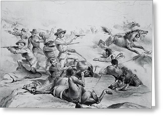 Plains Indian Greeting Cards - The Last Battle Of General Custer, 25th June 1876, C.1882 Litho B&w Photo Greeting Card by American School