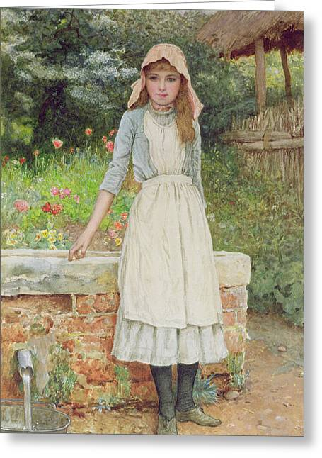 Apron Greeting Cards - The Last Chore Greeting Card by Edward Killingworth Johnson