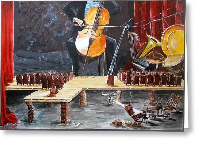 The Last Concert Listen With Music Of The Description Box Greeting Card by Lazaro Hurtado