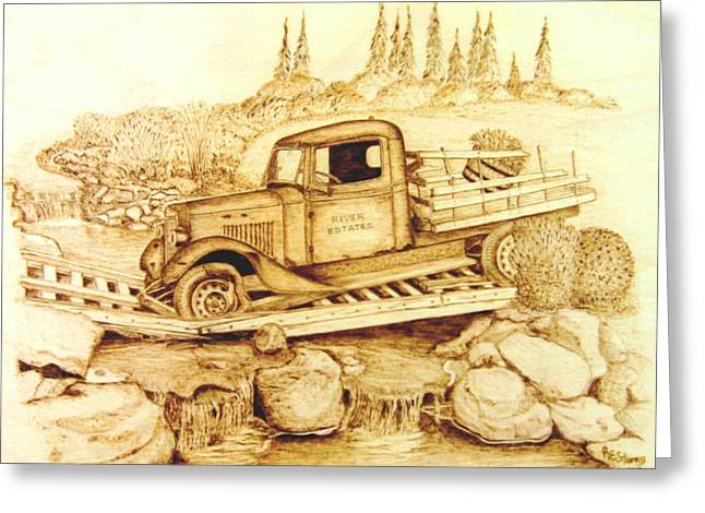 Original Pyrography Greeting Cards - The Last Crossing Greeting Card by Roger Storey