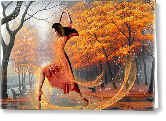 Dance Of The Veils Greeting Cards - The last dance of autumn - fantasy art by Giada Rossi Greeting Card by Giada Rossi