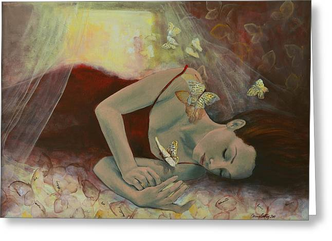 Figurative Greeting Cards - The last dream before dawn Greeting Card by Dorina  Costras