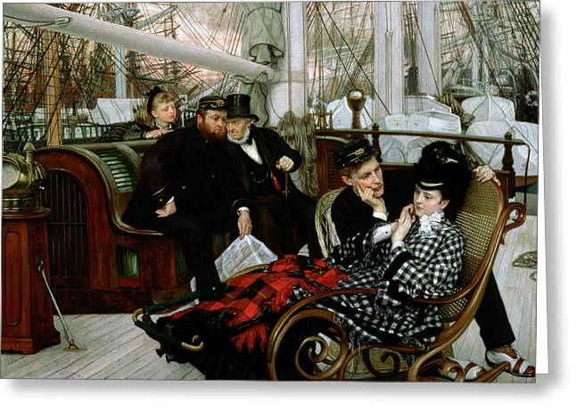 Yacht Photographs Greeting Cards - The Last Evening, 1873 Oil On Canvas Greeting Card by James Jacques Joseph Tissot