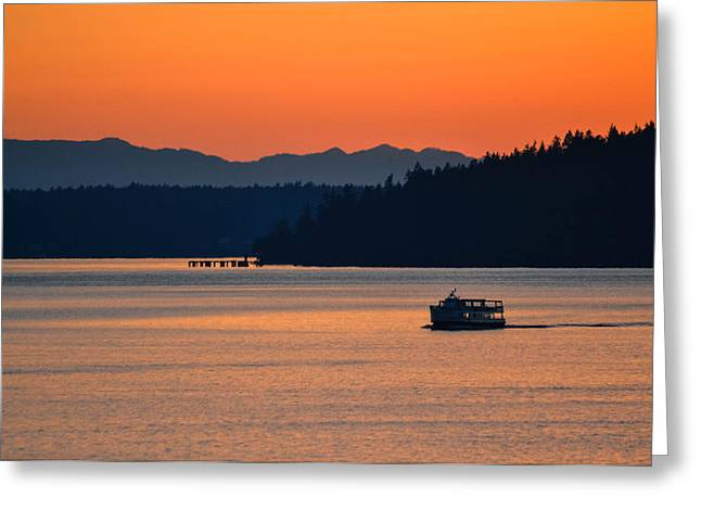 Steilacoom Greeting Cards - The Last Ferry Greeting Card by Jody Partin