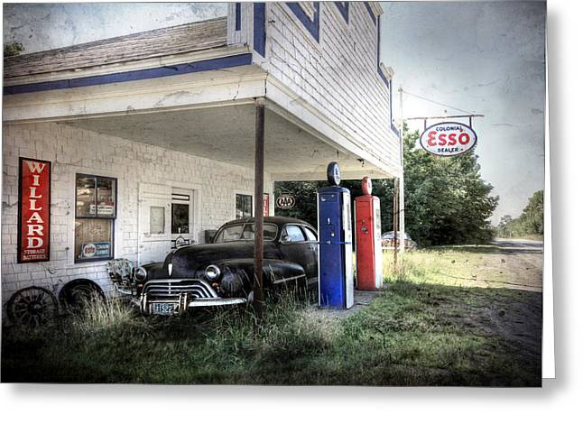 Esso Greeting Cards - The Last Fill Up Greeting Card by Lori Deiter