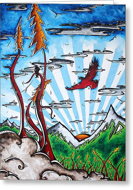 Licensor Greeting Cards - THE LAST FRONTIER Original MADART Painting Greeting Card by Megan Duncanson