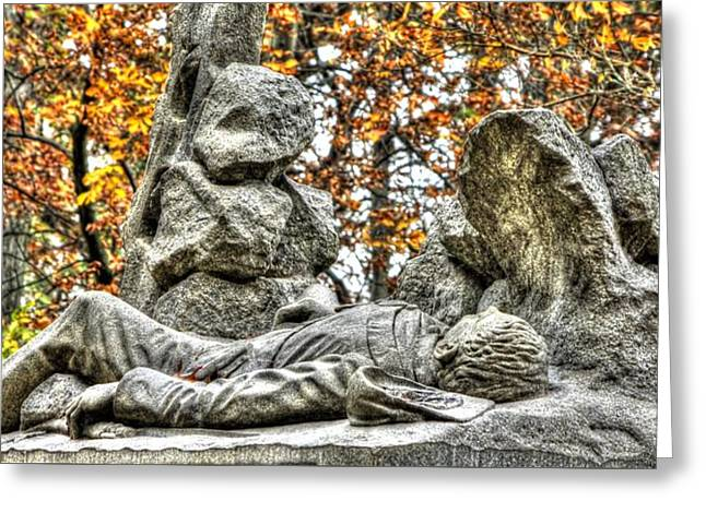2nd Corps Greeting Cards - The Last Full Measure - Gettysburg National Military Park Autumn Greeting Card by Michael Mazaika