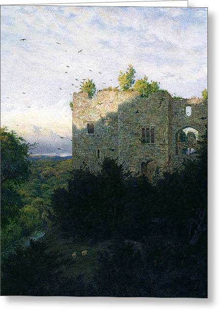 Ruins Paintings Greeting Cards - The Last Gleam Greeting Card by Walter Fryer Stocks