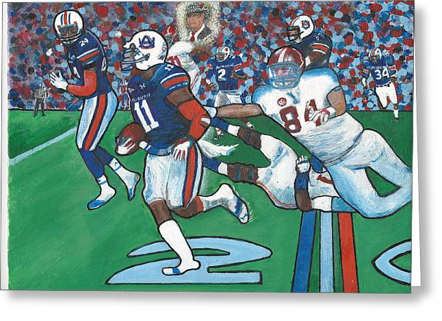 The Last Grasp Alabama Auburn Iron Bowl 2013 Add Nostalgia  Greeting Card by Ricardo Of Charleston
