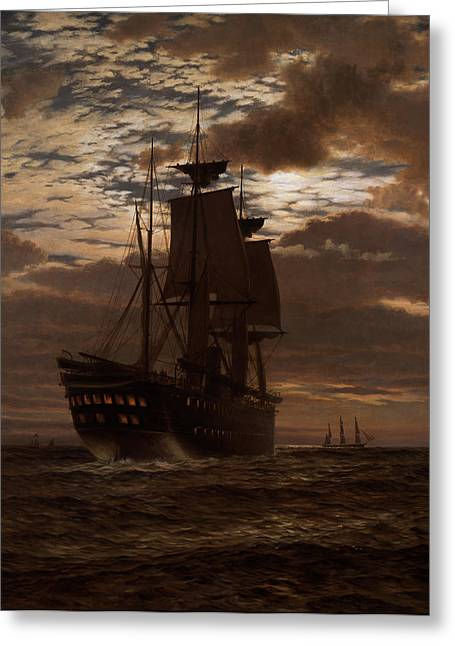 Sailing Ship Greeting Cards - The Last Indian Troopship, Hms Malabar Greeting Card by Charles Parsons Knight