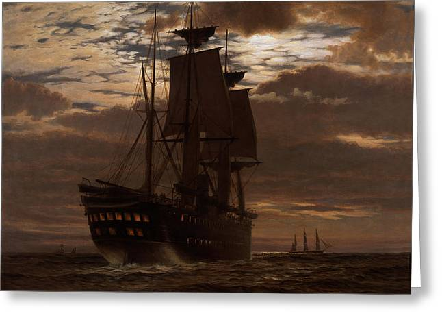 Pirates Paintings Greeting Cards - The Last Indian Troopship Hms Malabar Greeting Card by Charles Parsons Knight